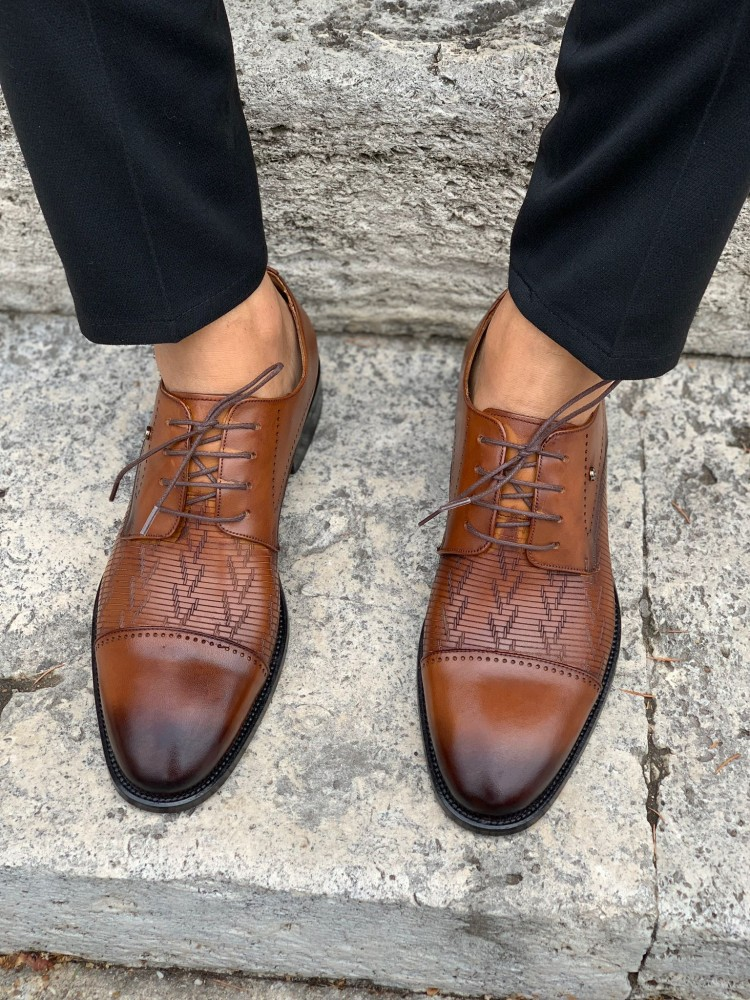 Tan INTERIOR OUTSIDE NATURAL LEATHER MEN'S SHOES