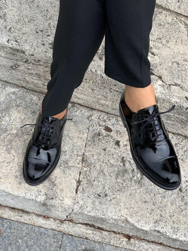 Black Patent Leather INTERIOR OUTSIDE NATURAL LEATHER MEN'S SHOES