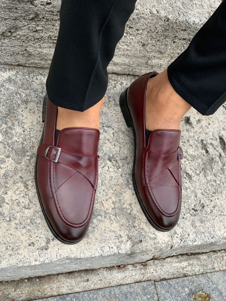 Burgundy Buckle Leather Shoes