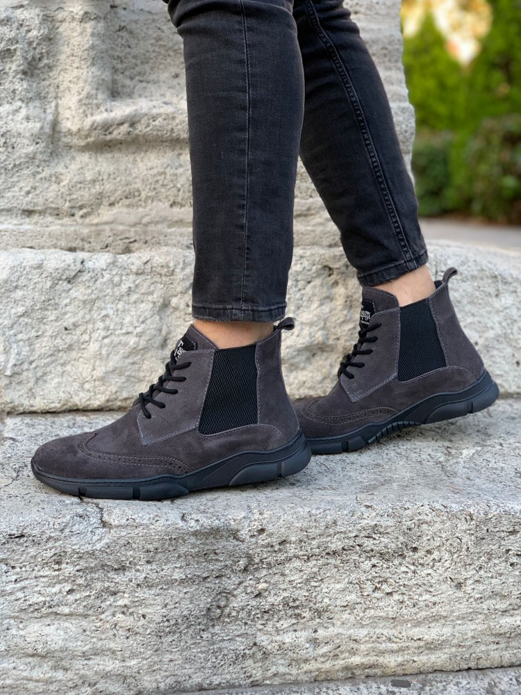 Gray Suede Men's Lace-Up Boots