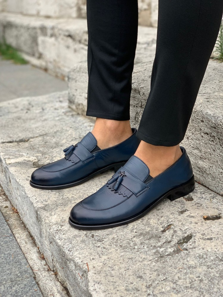 Navy Blue Patent Leather Corcik Leather Shoes