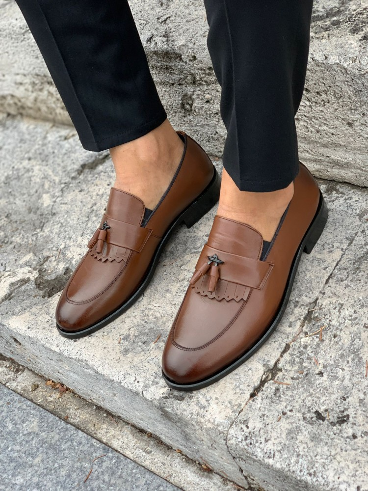 Tan Patent Leather Corcik Leather Shoes