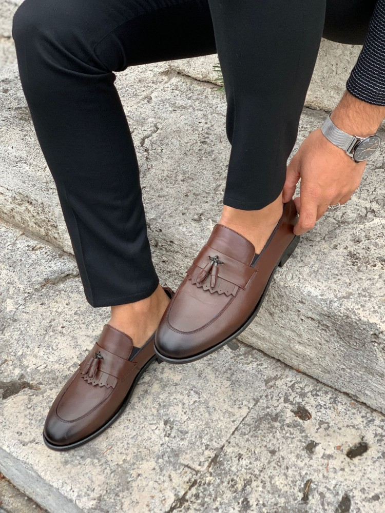Brown Patent Leather Corcik Leather Shoes