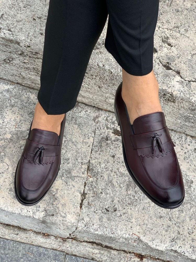 Burgundy Patent Leather Corcik Leather Shoes