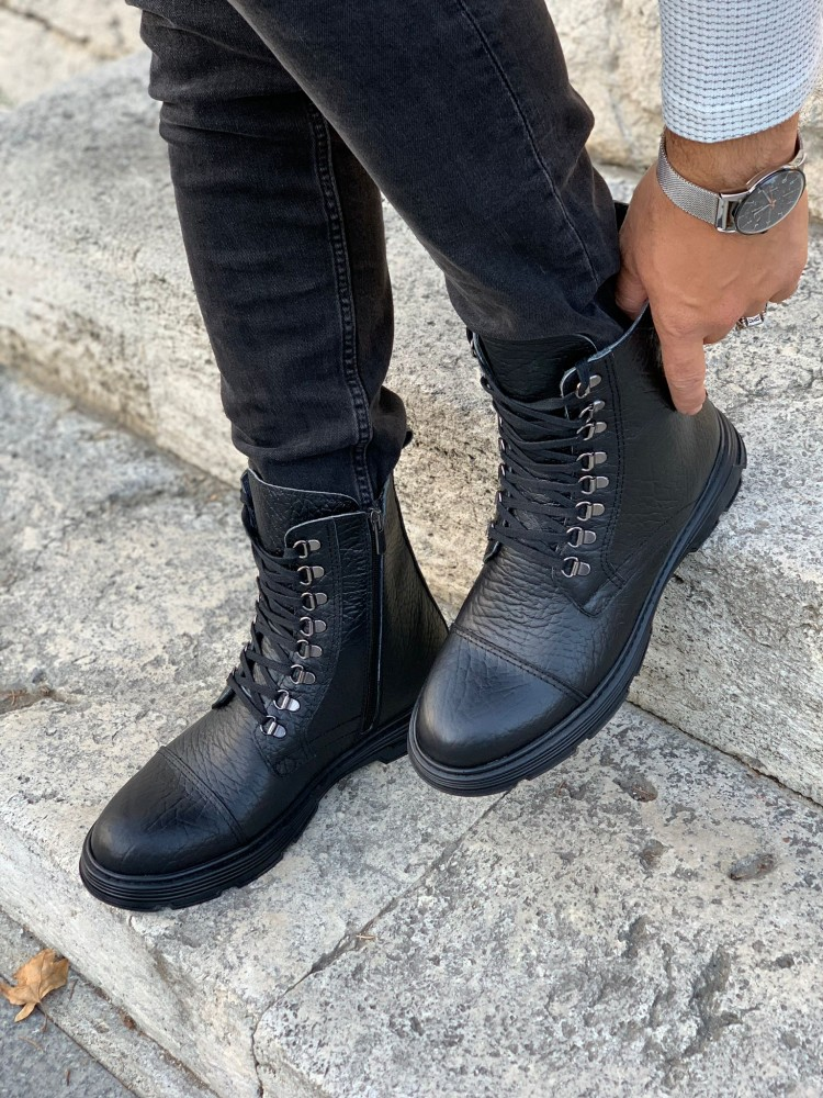 Black INTERIOR OUTSIDE NATURAL LEATHER WINTER MEN'S BOOT SHOES