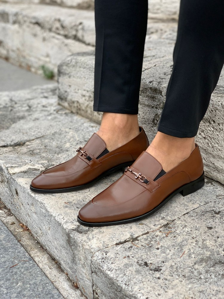 Brown Buckled Leather Shoes