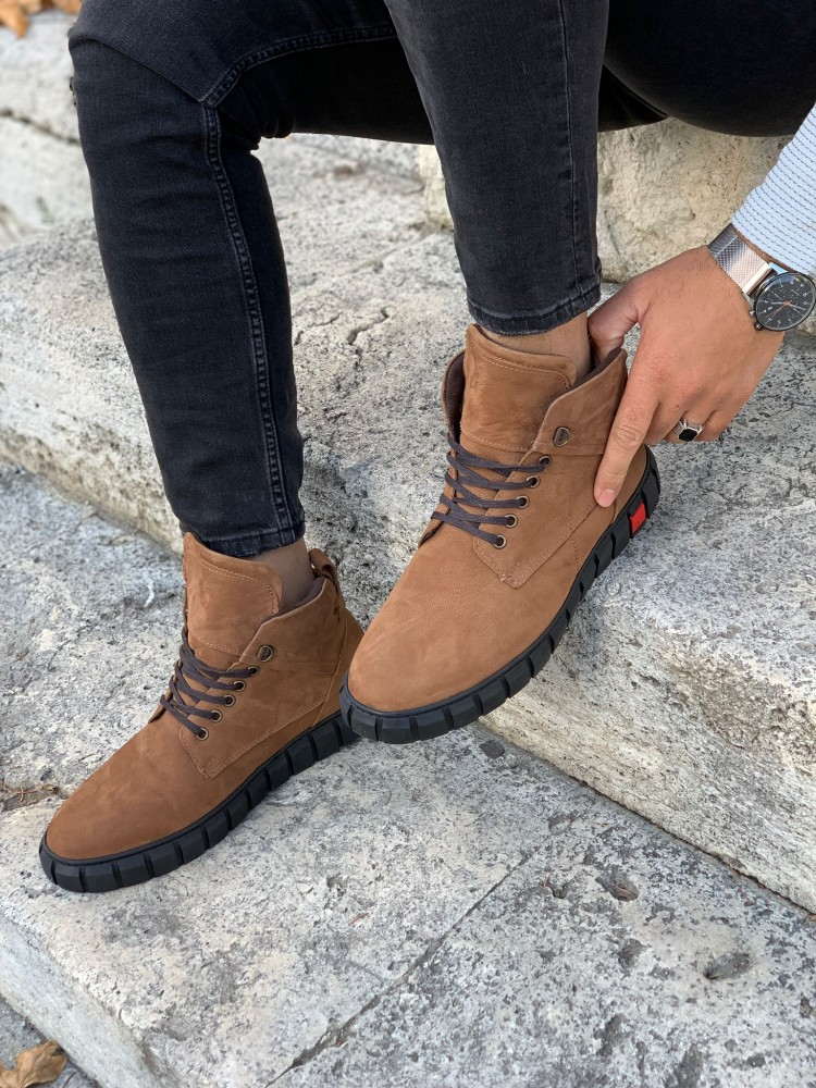Tan Lace-Up Genuine Leather Boots
