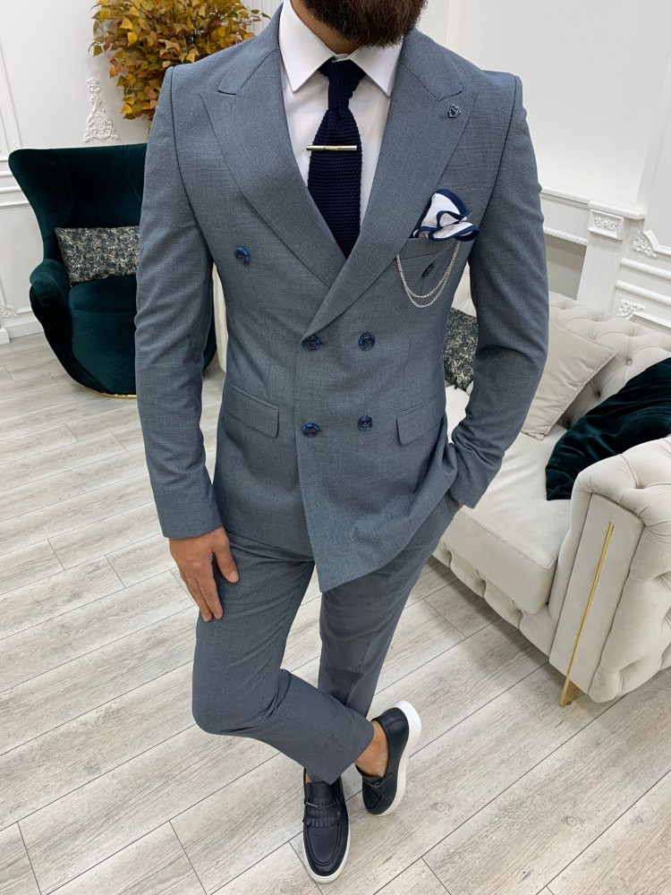 Baby Blue Italian Style Slim Fit Double Breasted Suit