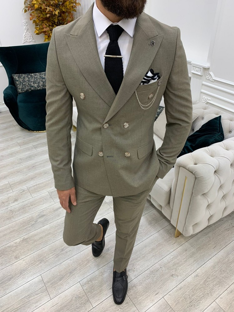 Milky Brown Italian Style Slim Fit Double Breasted Suit