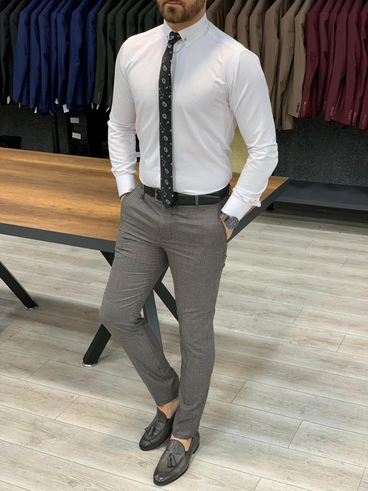Gri Puantiyeli Slim Fit Pantolon