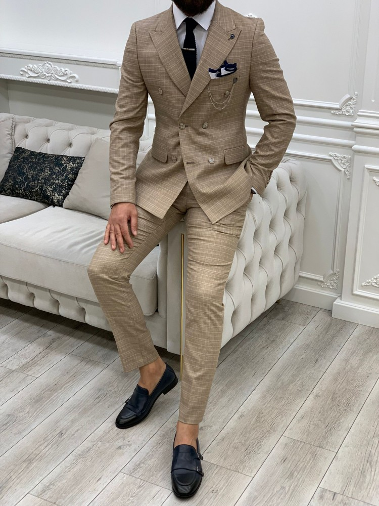 Yellow Italian Style Slim Fit Double Breasted Suit