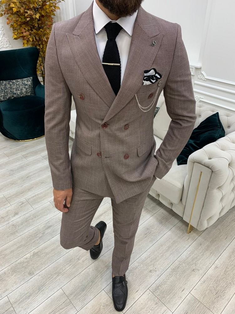 Burgundy Italian Style Slim Fit Double Breasted Suit