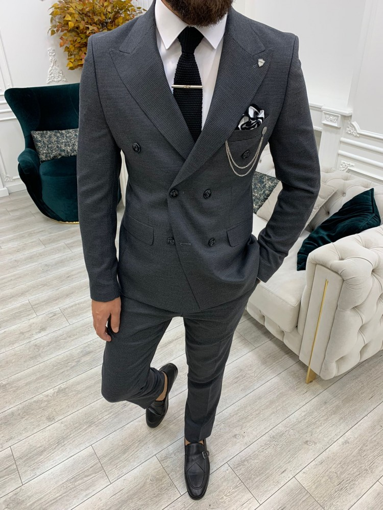 Anthracite Italian Style Slim Fit Double Breasted Suit