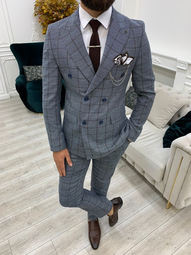 Ice Blue Italian Style Slim Fit Double Breasted Suit