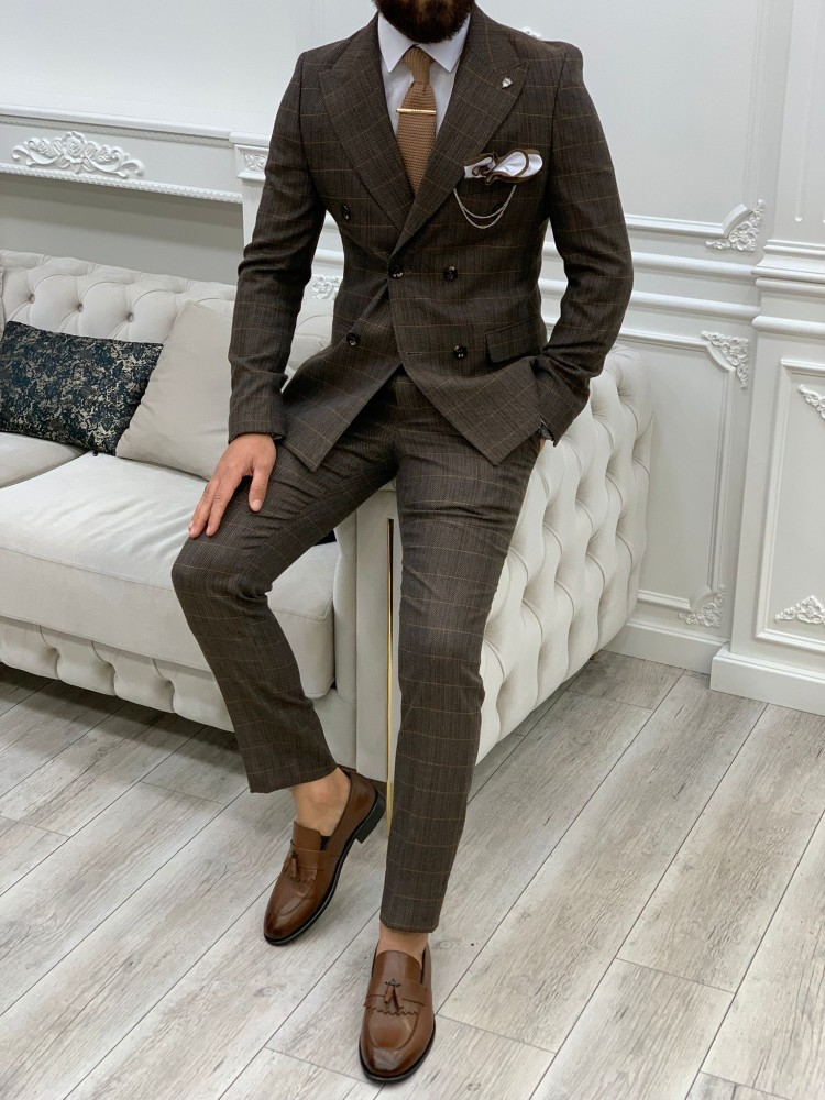 Bitter Brown Italian Style Slim Fit Double Breasted Suit