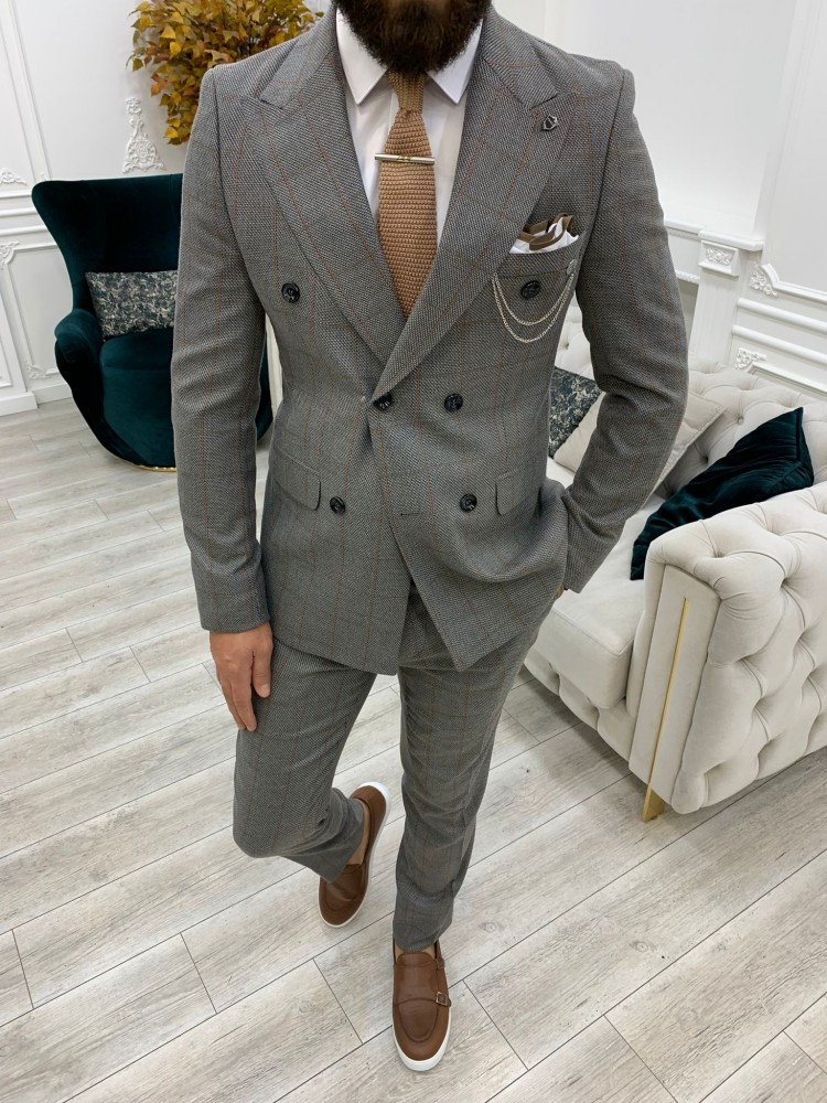 Gray Italian Style Slim Fit Double Breasted Suit