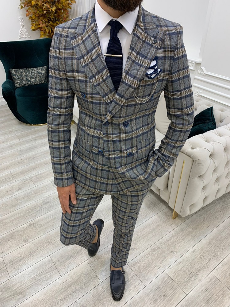 Navy Blue Italian Style Slim Fit Double Breasted Suit