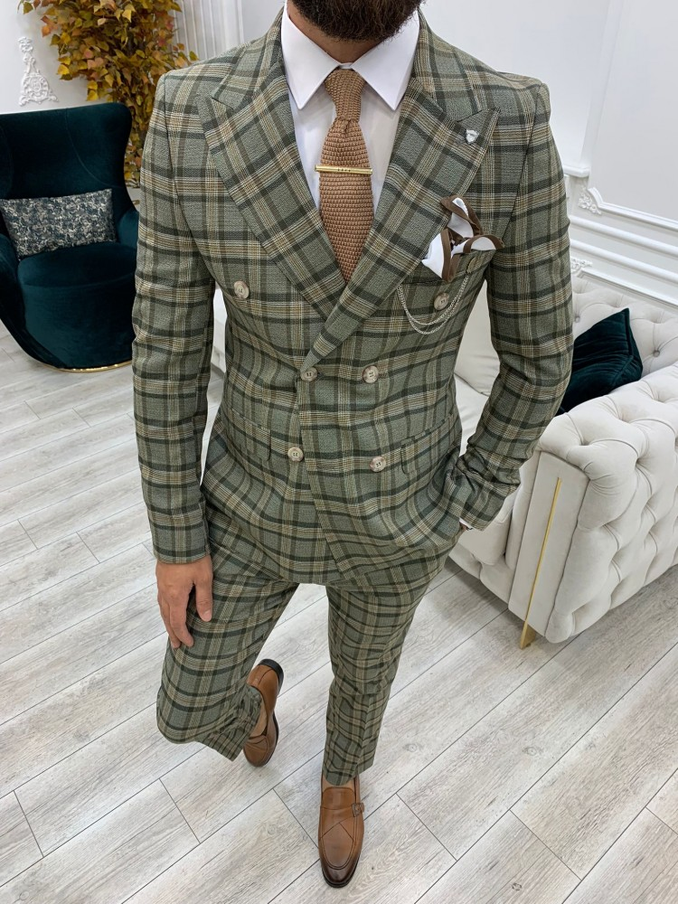 Khaki Italian Style Slim Fit Double Breasted Suit