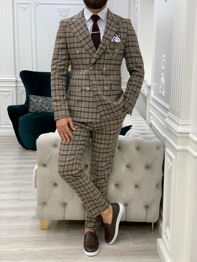 Brown Italian Style Slim Fit Double Breasted Suit