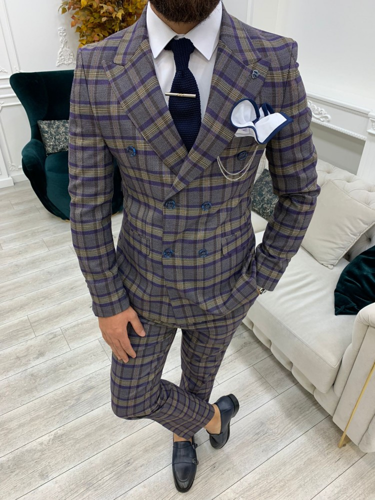 Purple Italian Style Slim Fit Double Breasted Suit