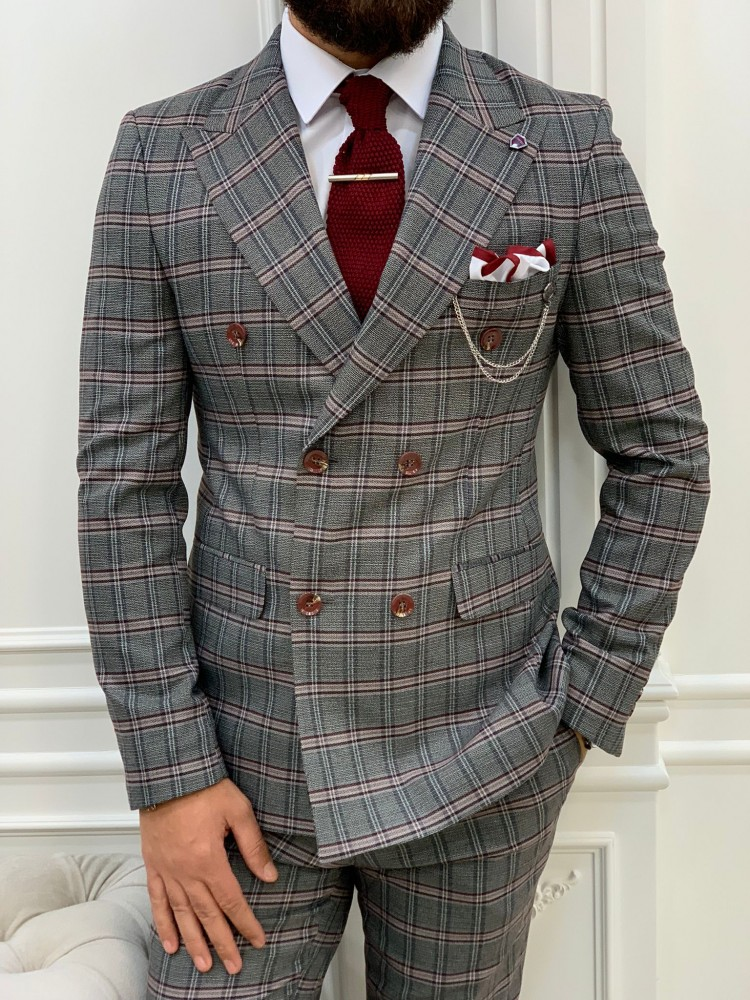 Pink Italian Style Slim Fit Double Breasted Suit