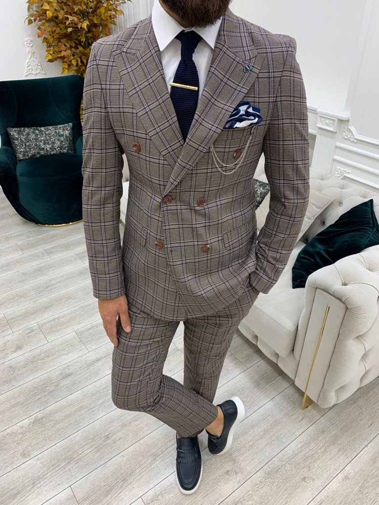 Cherry Italian Style Slim Fit Double Breasted Suit