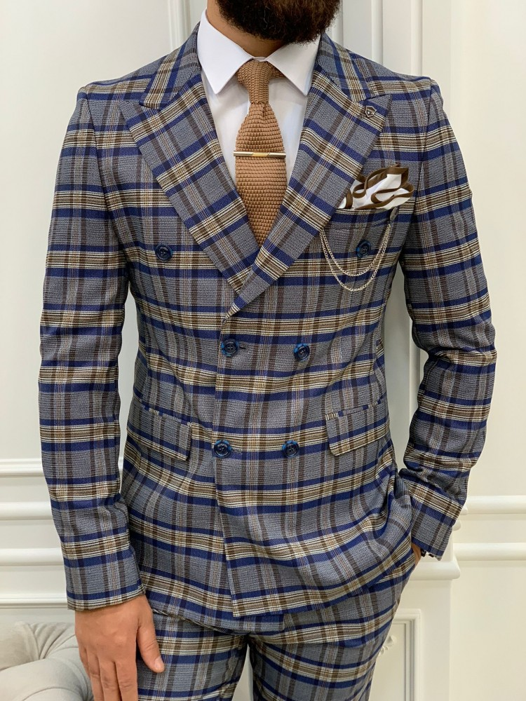 Blue Italian Style Slim Fit Double Breasted Suit