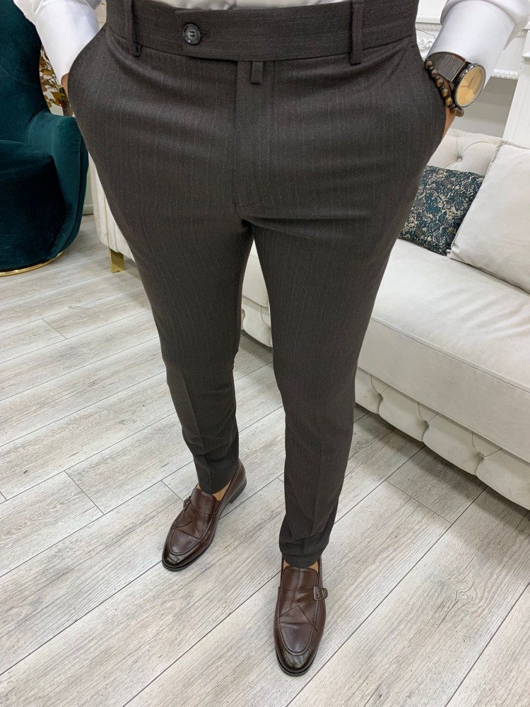 Brown Self Striped Canvas Trousers