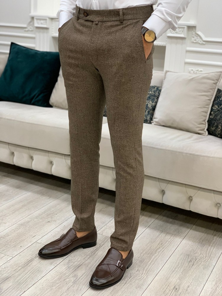 Brown Cropped Canvas Trousers