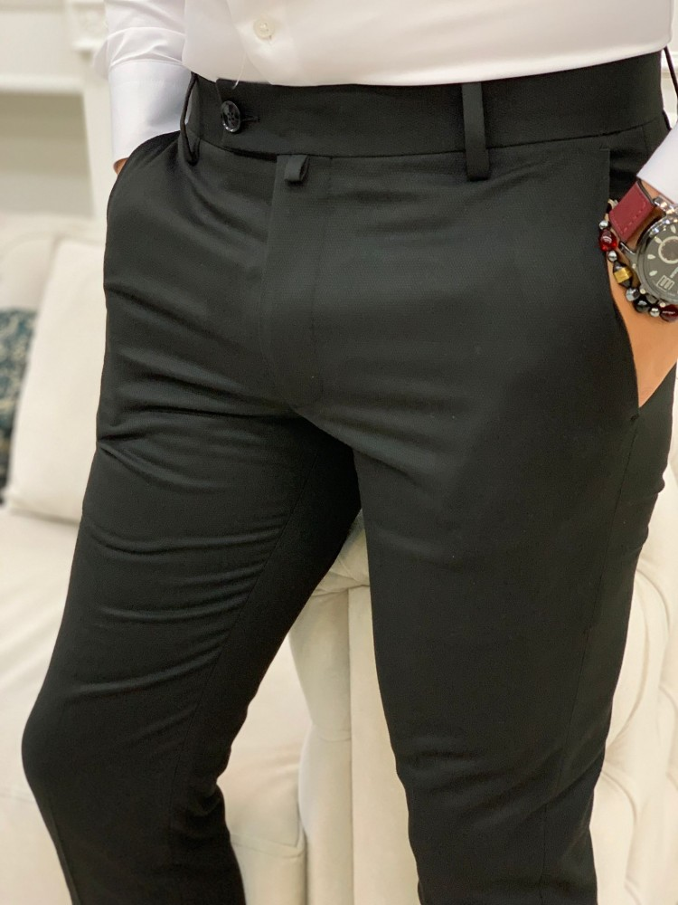 Black Patterned Canvas Trousers