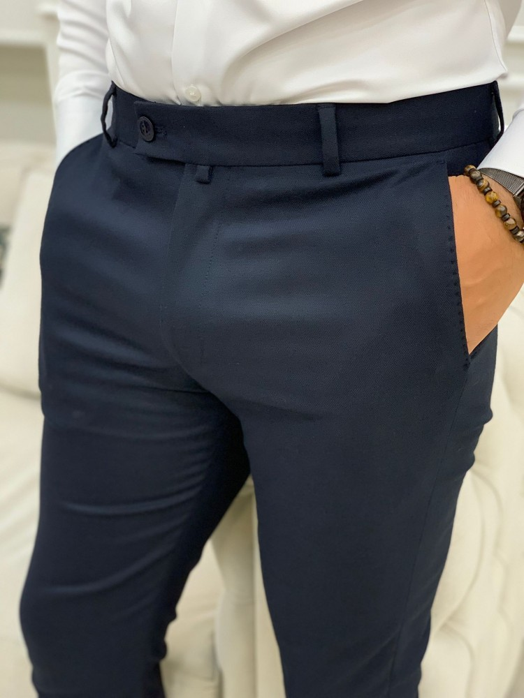 Navy Blue Patterned Canvas Trousers