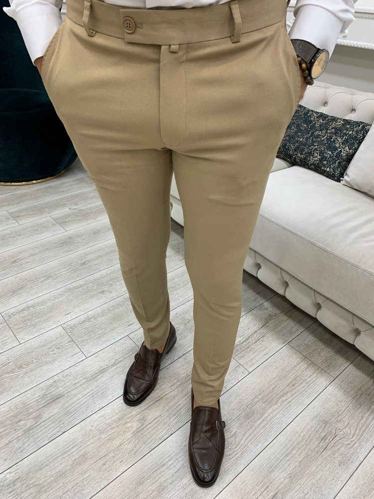 Cream Patterned Canvas Trousers