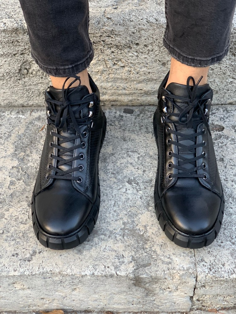 Black Men's Lace-up Natural Genuine Leather Boots