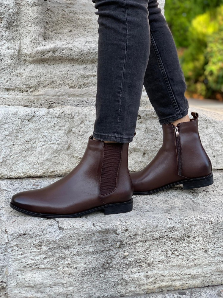 Bitter Brown Leather Chelsea Boots
